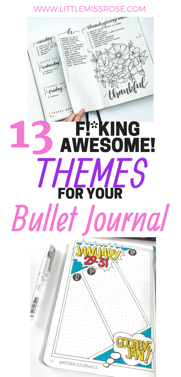 Read this article for 13 amazing bullet journal themes you can try in your own bullet journal! There are enough themes and examples for every month of the year #bujo #bulletjournal #themes #layouts