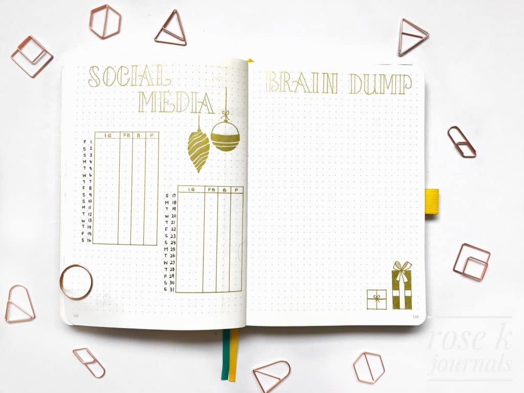 Rose K Journals bullet journal social media tracker and brain dump page