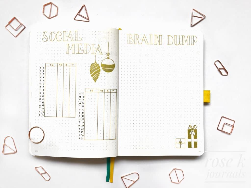 Rose K Journals bullet journal social media tracker and brain dump page