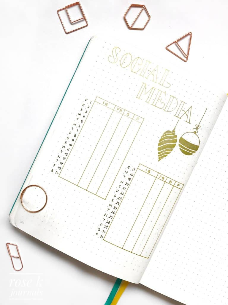 Rose K Journals bullet journal social media tracker
