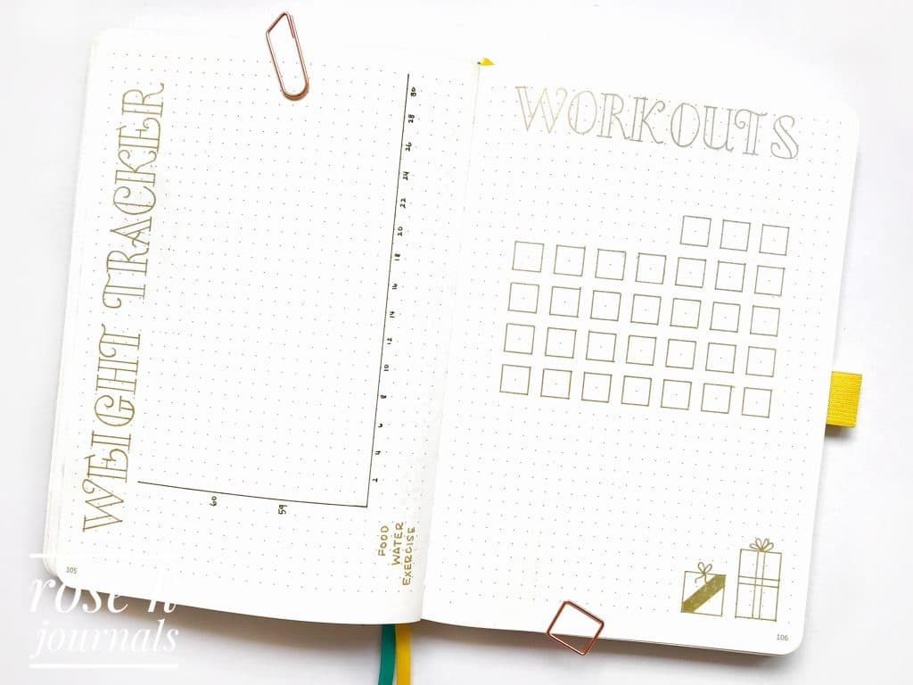 Rose K Journals bullet journal weight tracker and workout tracker