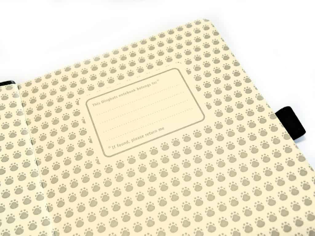 Dingbats inside cover bullet journal