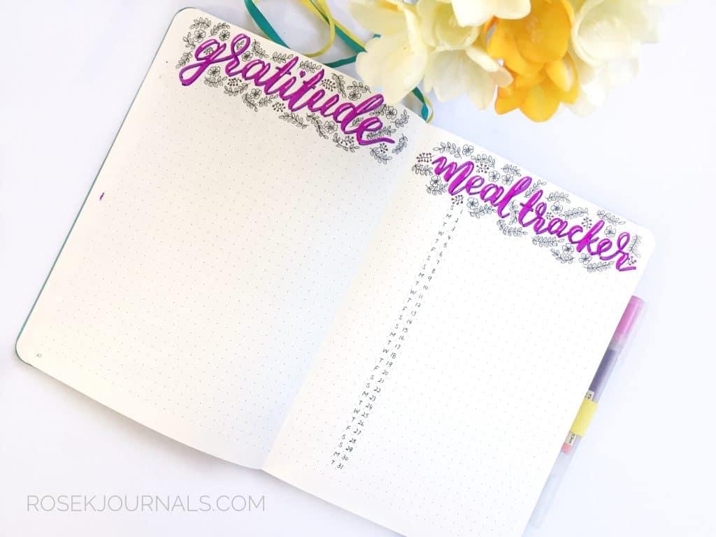 Bullet Journal Gratitude Log and Meal Tracker - Littlemissrose.com