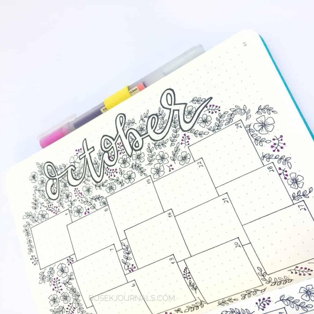 Bullet Journal Monthly Log - Littlemissrose.com