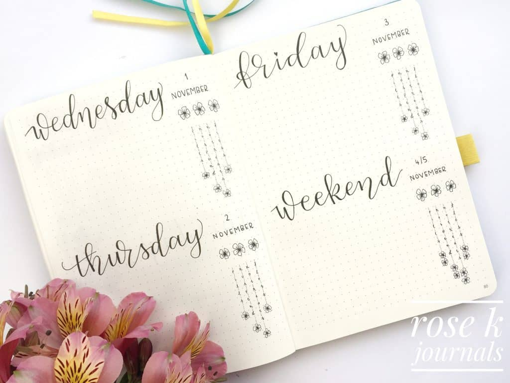 Rose K Journals bullet journal daily logs for November 2017