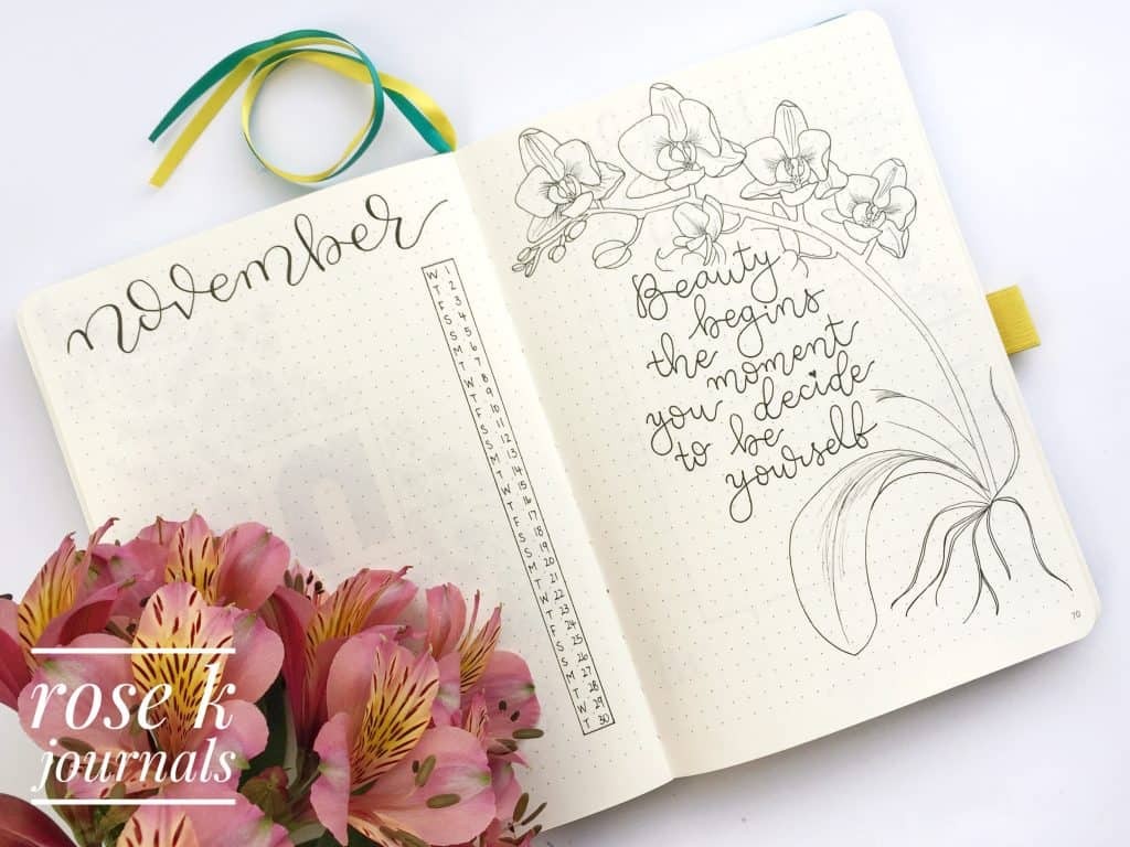 Rose K Journals November monthly log in my bullet journal