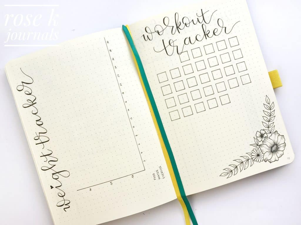 Rose K Journals November 2017 weight tracker and workout tracker