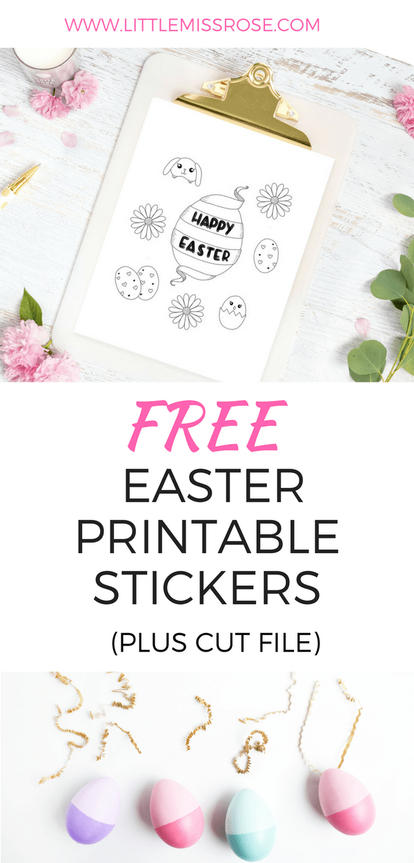Easter Printable Stickers plus cut file pinterest - www.littlemissrose.com