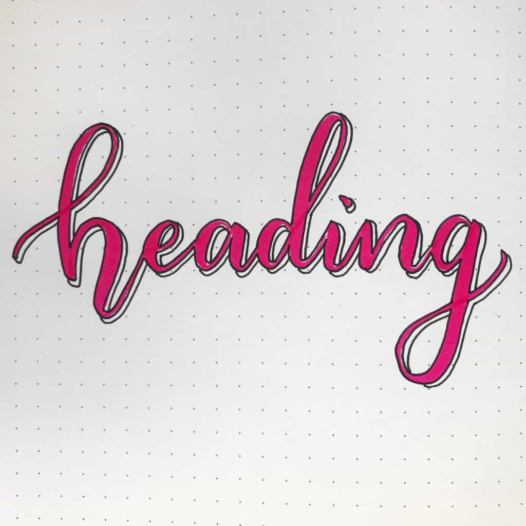 Brush lettering with outline and drop shadow www.littlemissrose.com
