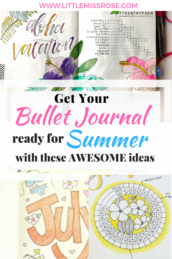 Find some awesome summer ideas for your bullet journal including, layouts, spreads, doodles, themes and tutorials for you bujo #bujo #bulletjournal #bujoinspiration