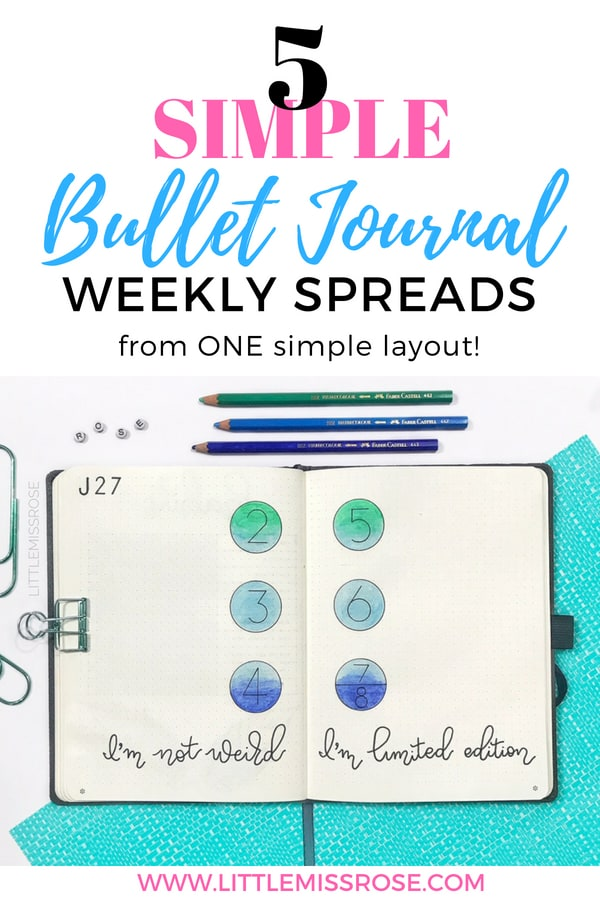 Find out how to create these 5 simple bullet journal weekly spreads using one basic bullet journal layout! #bulletjournal #bujo #bulletjournalweeklyspread #weeklyspread