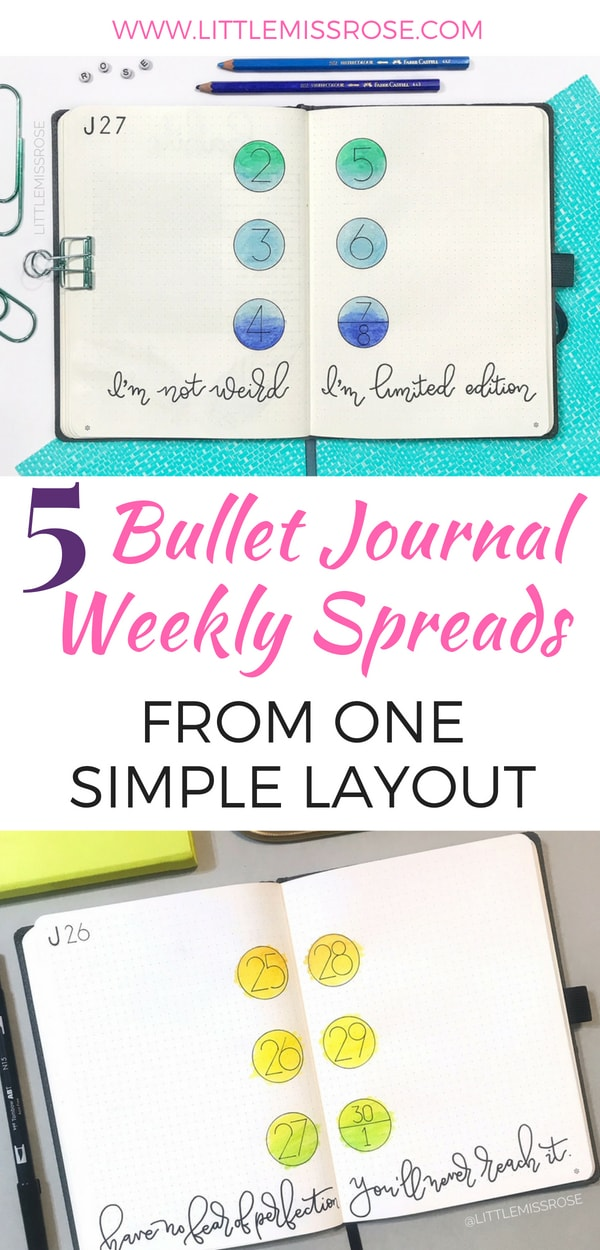 Find out how to create these FIVE different bullet journal weekly spreads from just one simple bullet journal layout #bulletjournal #bujo #bulletjournalweeklyspread #weeklyspread