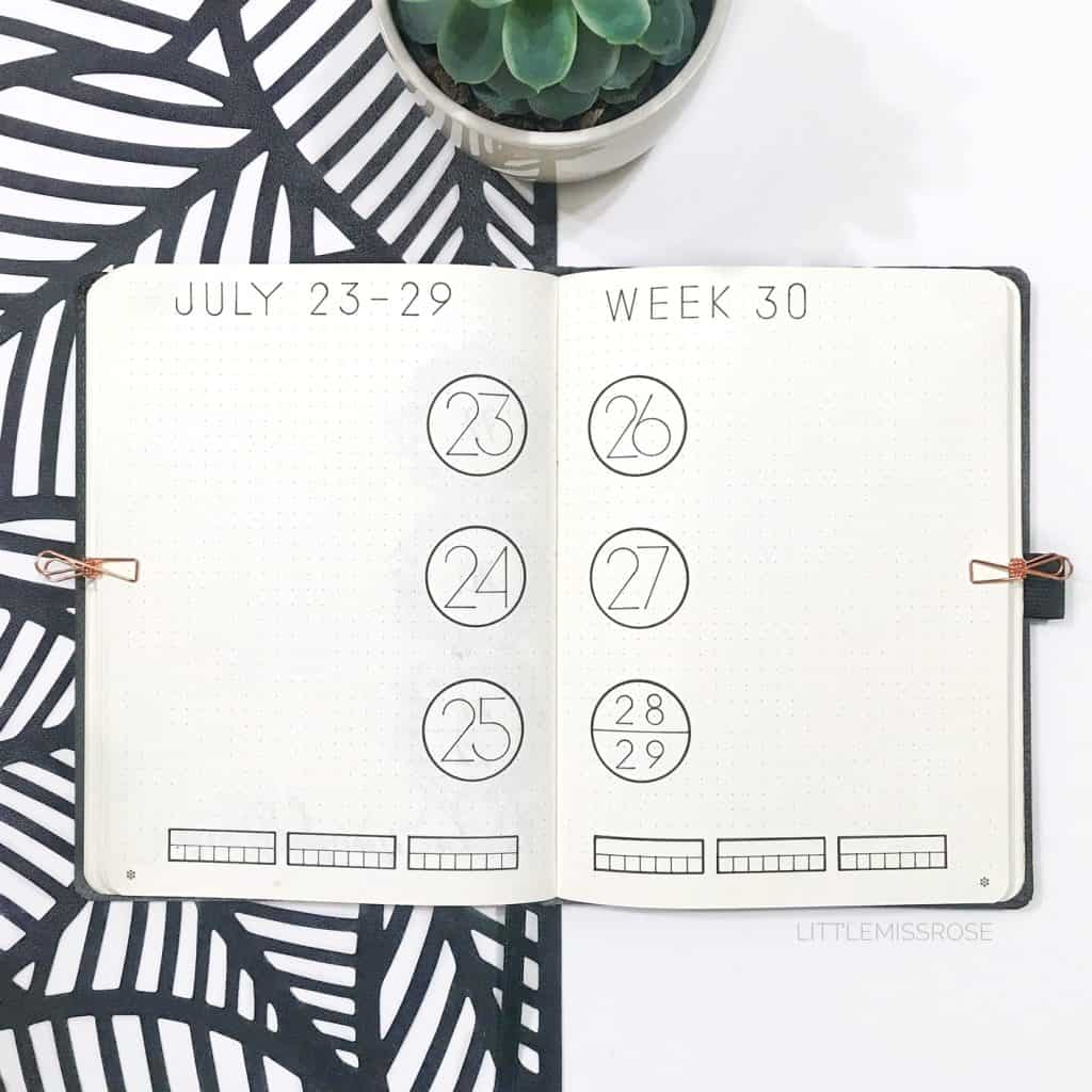Create 5 different bullet journal weekly spreads from one simple layout www.littlemissrose.com