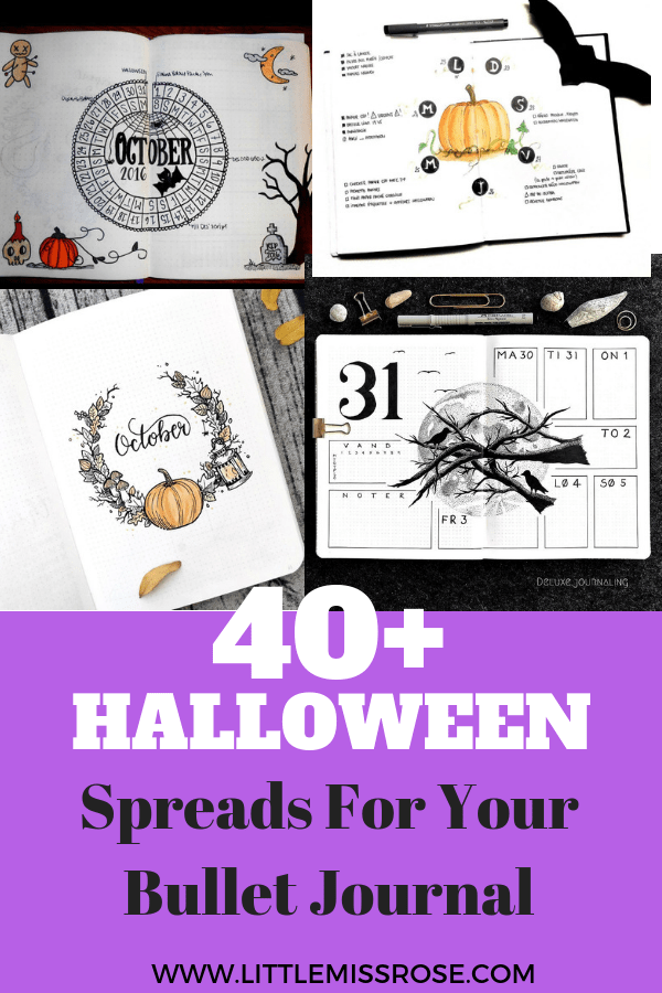 Over 40 halloween themed bullet journal spreads, ideas, doodles and collections to add to your bujo for October.