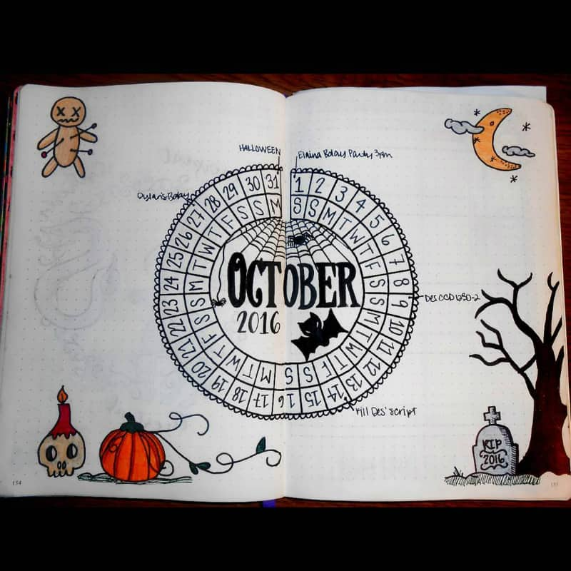 Halloween theme bullet journal monthly log @acciomommy221b