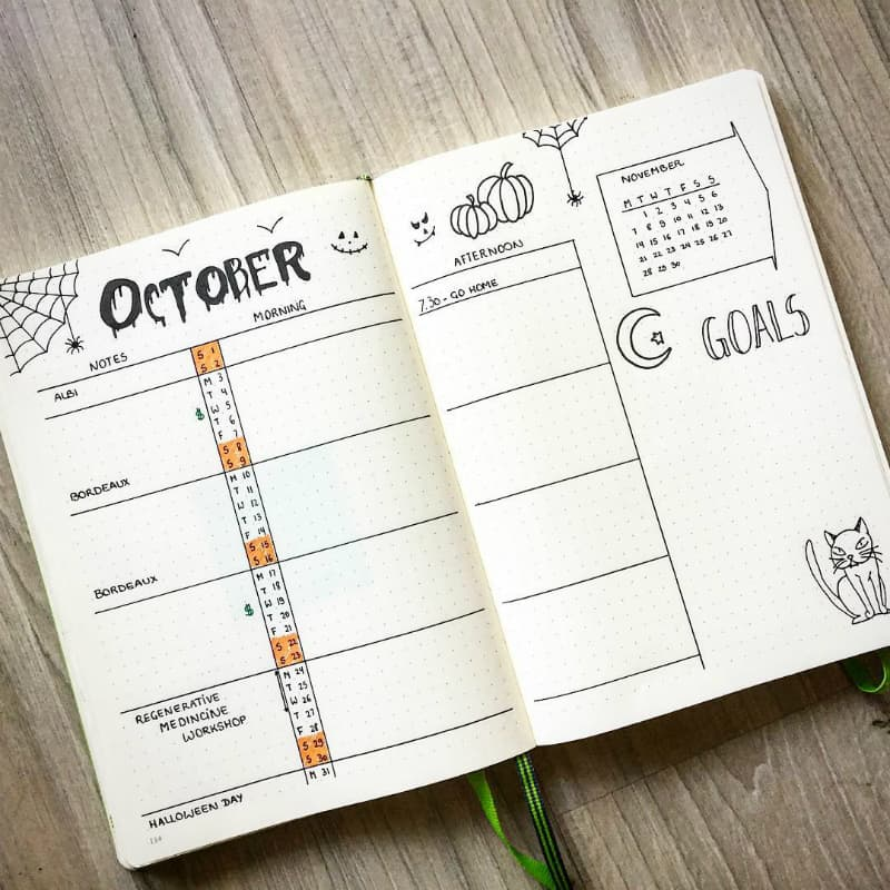 Halloween theme bullet journal spreads and layouts, weekly layout by @bujo_phd
