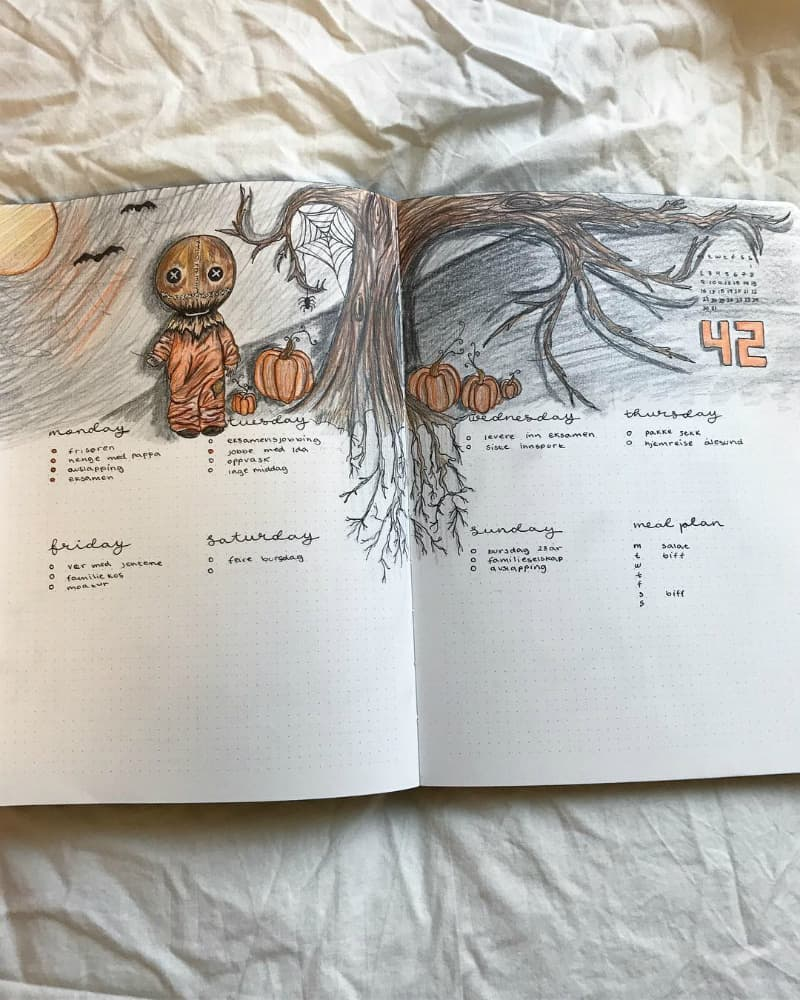 Bullet journal halloween theme ideas, weekly spread and layout by @buujooo