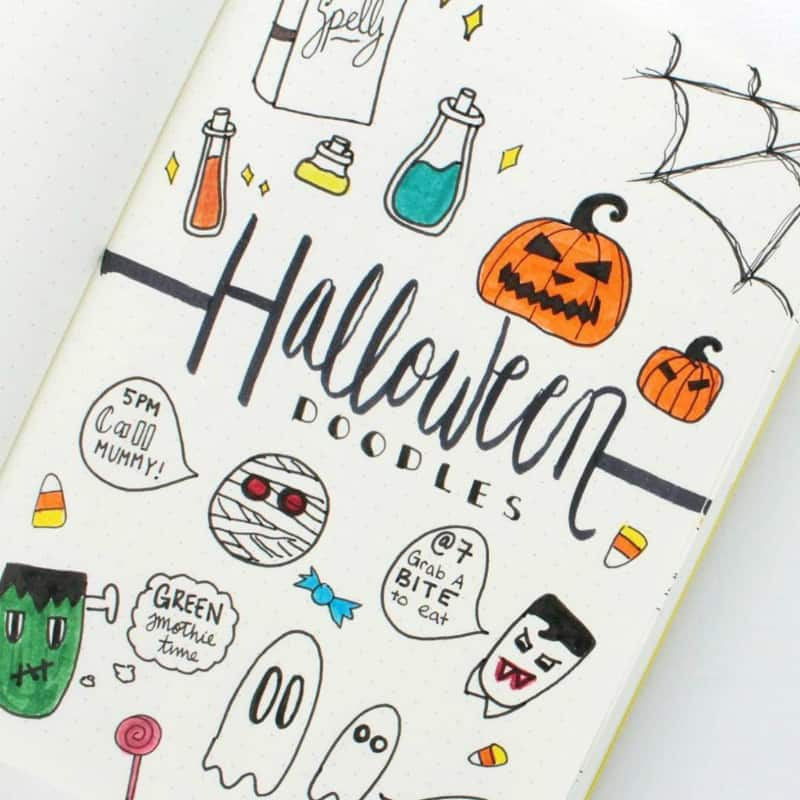 Halloween bullet journal theme collections and spreads, doodles by @caitlinmariedasilva