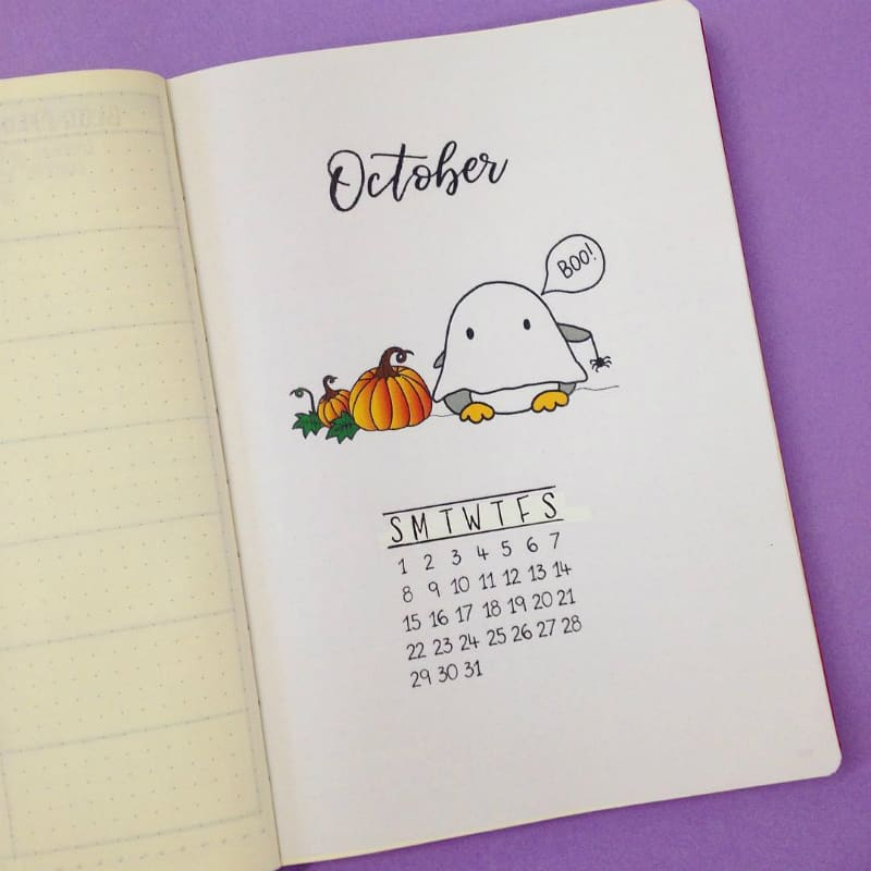 Bullet journal halloween theme spread for October monthly log and cover page by @christina77star