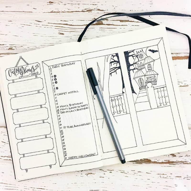 Halloween bullet journal theme ideas, monthly log by @evamariemade