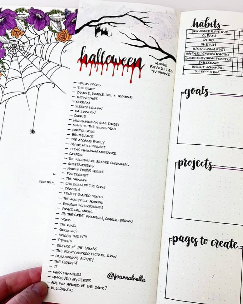 40+ Halloween Spreads For Your Bullet Journal | Little Miss Rose
