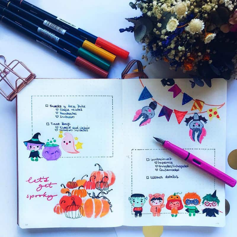 Halloween bullet journal collections and ideas @lacqueredworld