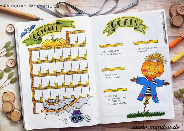 Halloween bullet journal themes monthly log by @mimitsu.de