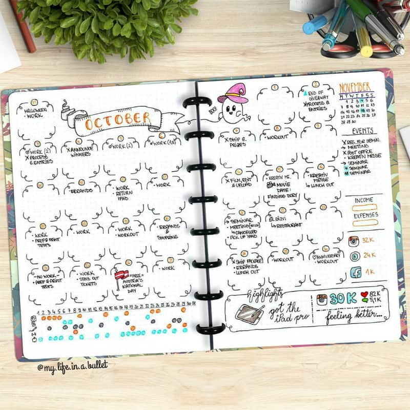 Halloween bullet journal theme ideas, monthly log, monthly spread by @my.life.in.a.bullet