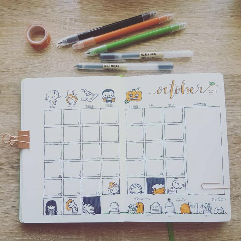 Halloween theme bullet journal spreads including this monthly log or layout spread by @peccapeccapeccadraws