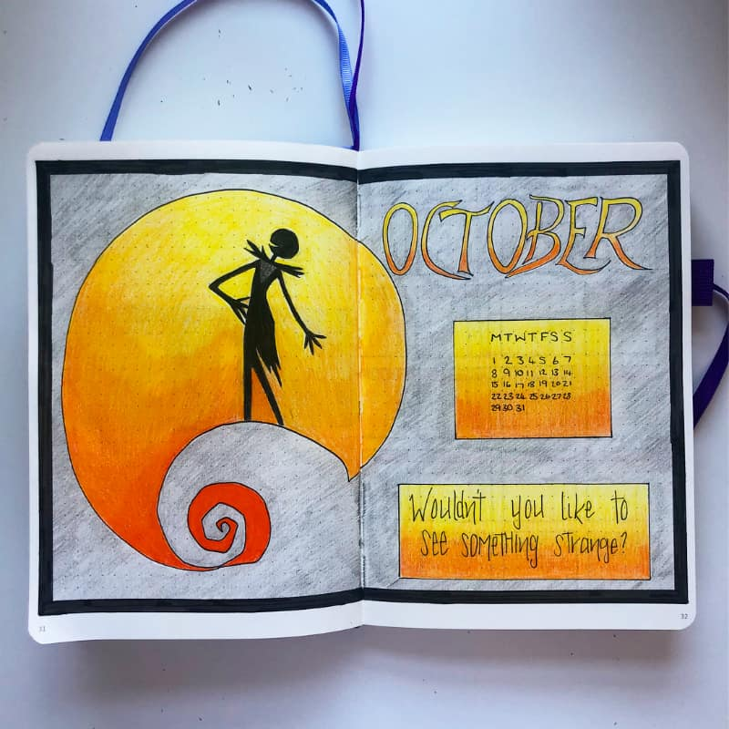 Halloween themed bullet journal spreads for October, monthly log and cover page by @planner_hannah