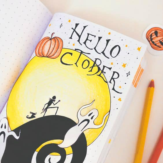 Halloween bullet journal theme for October including monthly cover page by Sally Winther