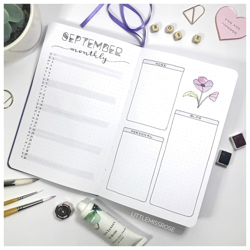 September 2018 Bullet journal plan with me Monthly log