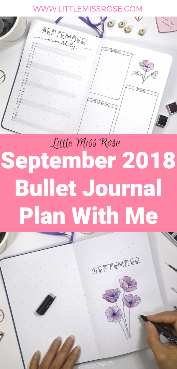 Watch my bullet journal plan with me for September where I set up my month including bullet journal monthly logs, weekly spreads and habit trackers - watercolour, lettering