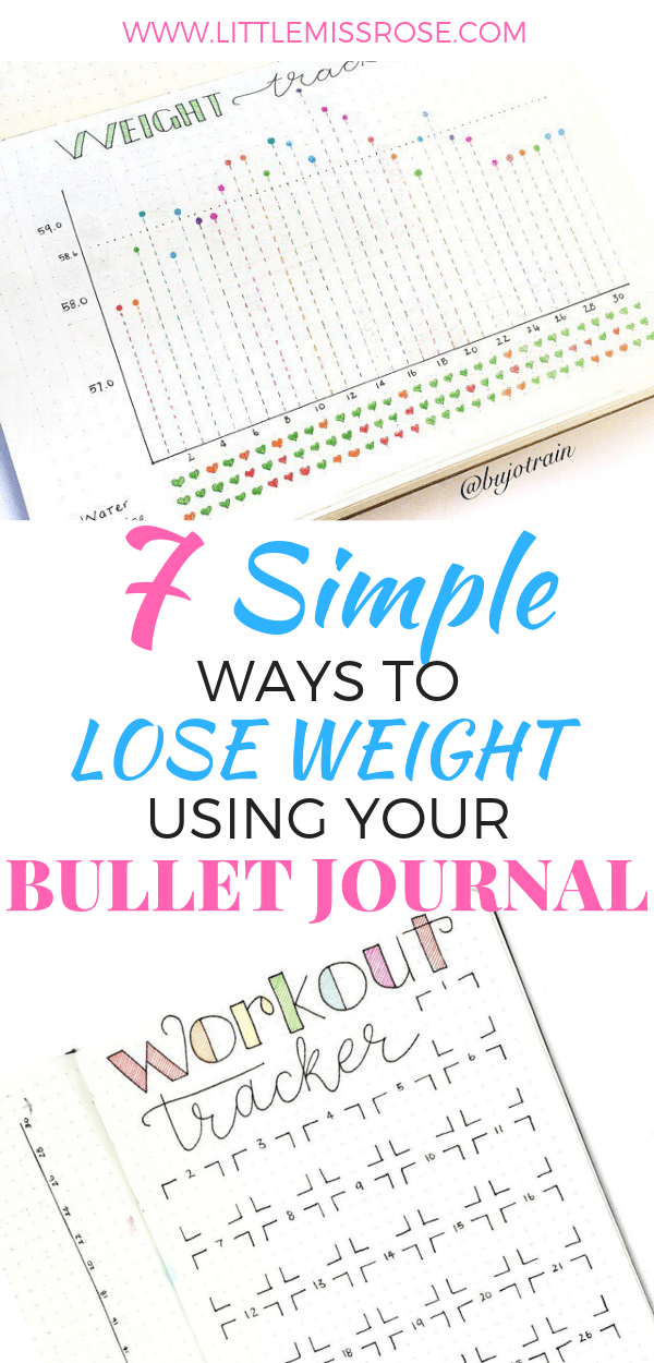 Check out these 7 simple ways you can successfully lose weight using your bullet journal! #bulletjournal #bujo #weightloss