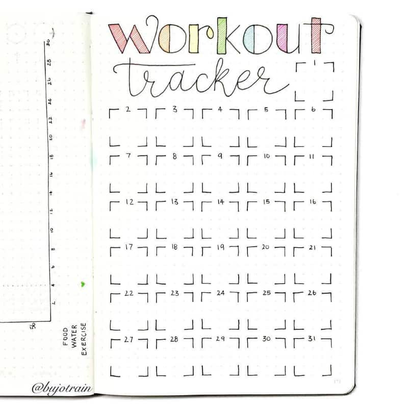 bullet journal exercise tracker littlemissrose little miss rose