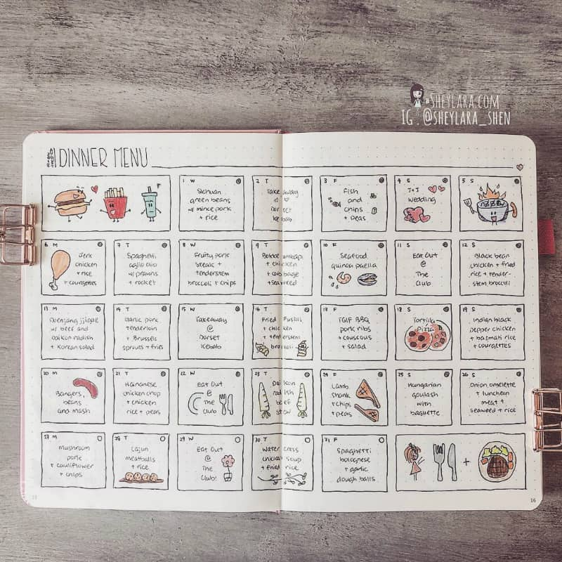 Learn 7 tips to lose weight using your bullet journal. Bullet journal meal planner by @sheylara_shen #bulletjournal #bujo #weightloss