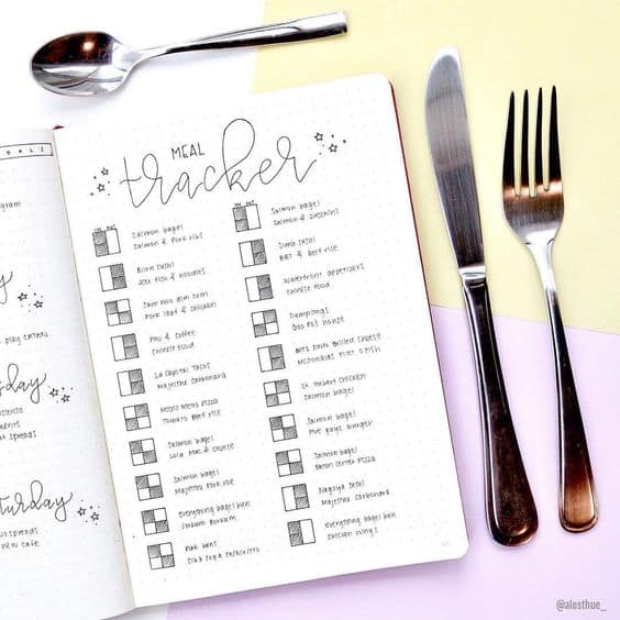7 ways to use your bullet journal to lose weight. Meal tracker by @alosthue_