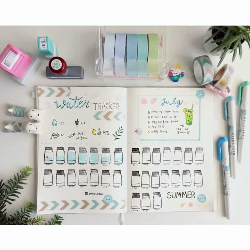 Want to lost weight? Find out how your bullet journal can help you lose weight. Water tracker by @groovy_atelier