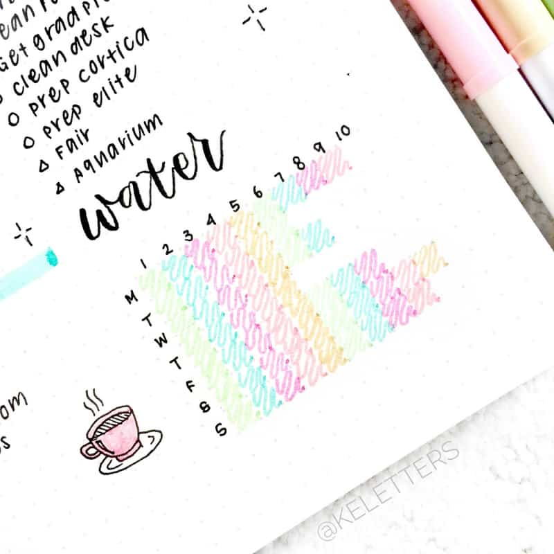 Read these 7 bullet journal tips for losing weight. Water tracker by @keletters