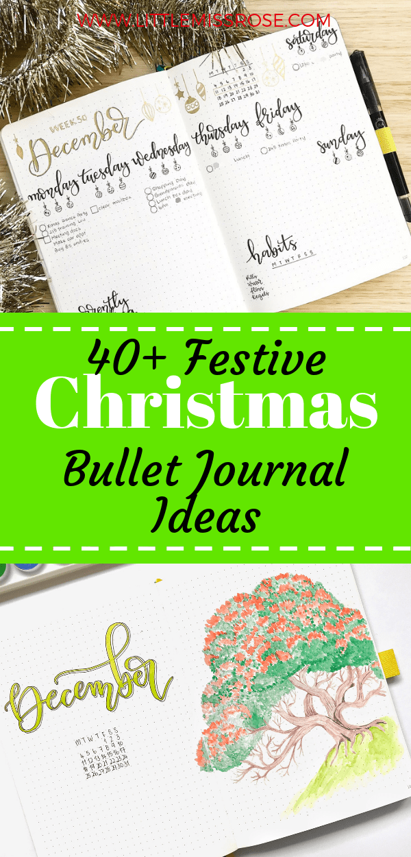 Find over 40 festive Christmas bullet journal spreads for your bujo.  Get ideas for weekly spreads, monthly logs, lists, gratitude logs and so much more!