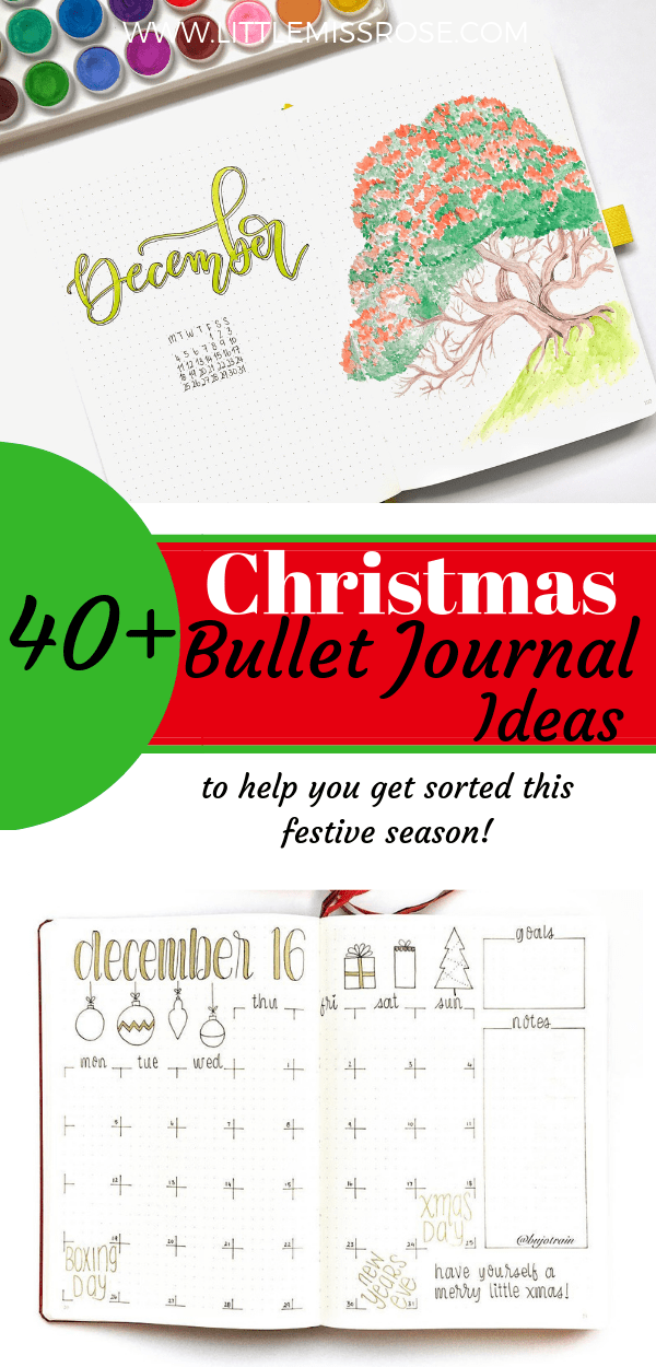 Find ideas for festive Chrsitmas bullet journal spreads, including mood trackers, weekly logs, monthly logs, welcome pages and lists!  All the lists!  for your bujo