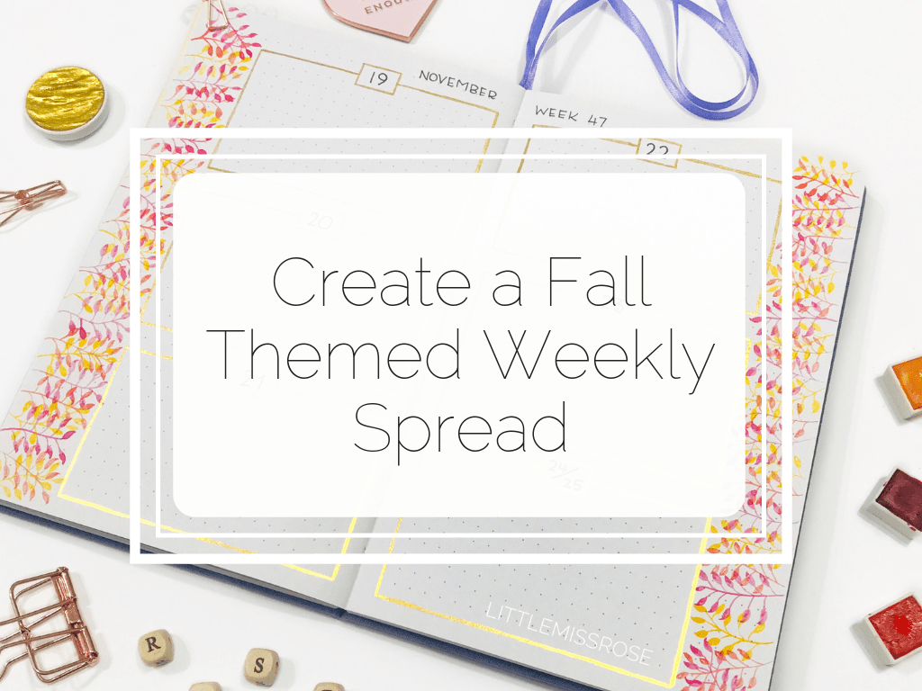 Learn how to create an amazing fall themed bullet journal weekly spread. Step by step photos included!