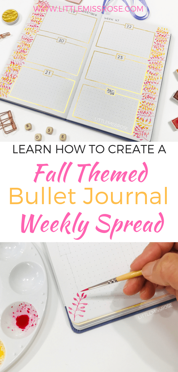Follow these step by step instructions to create a bullet journal weekly spread with a fall theme.