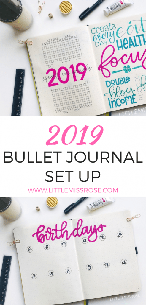 Find out how I set up my bullet journal for 2019, including year in pixels, resolutions, goals, future log and more! Plan with me!