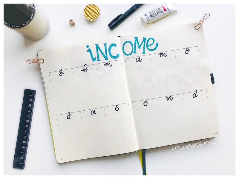 Income tracker to track my blog income in my 2019 bullet journal set up