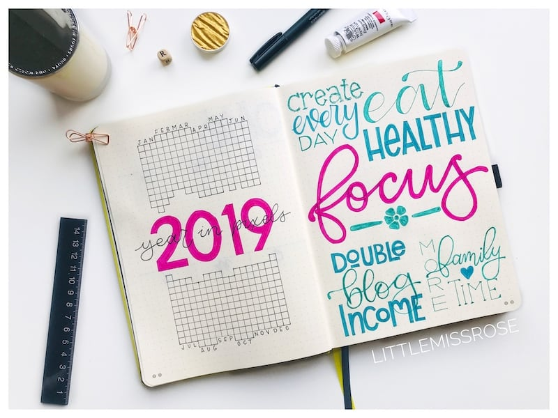 2019 bullet journal set up including year in pixels, resolutions, goals and word of the year