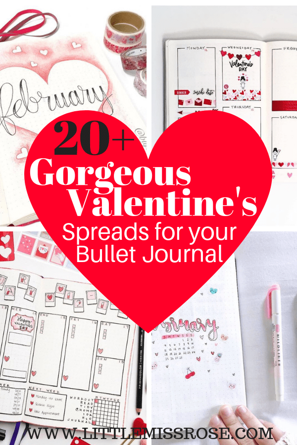 20+ romantic Valentine's Day themed bullet journal spreads for you to try in your bullet journal including monthly logs, weekly spreads, daily logs and habit trackers