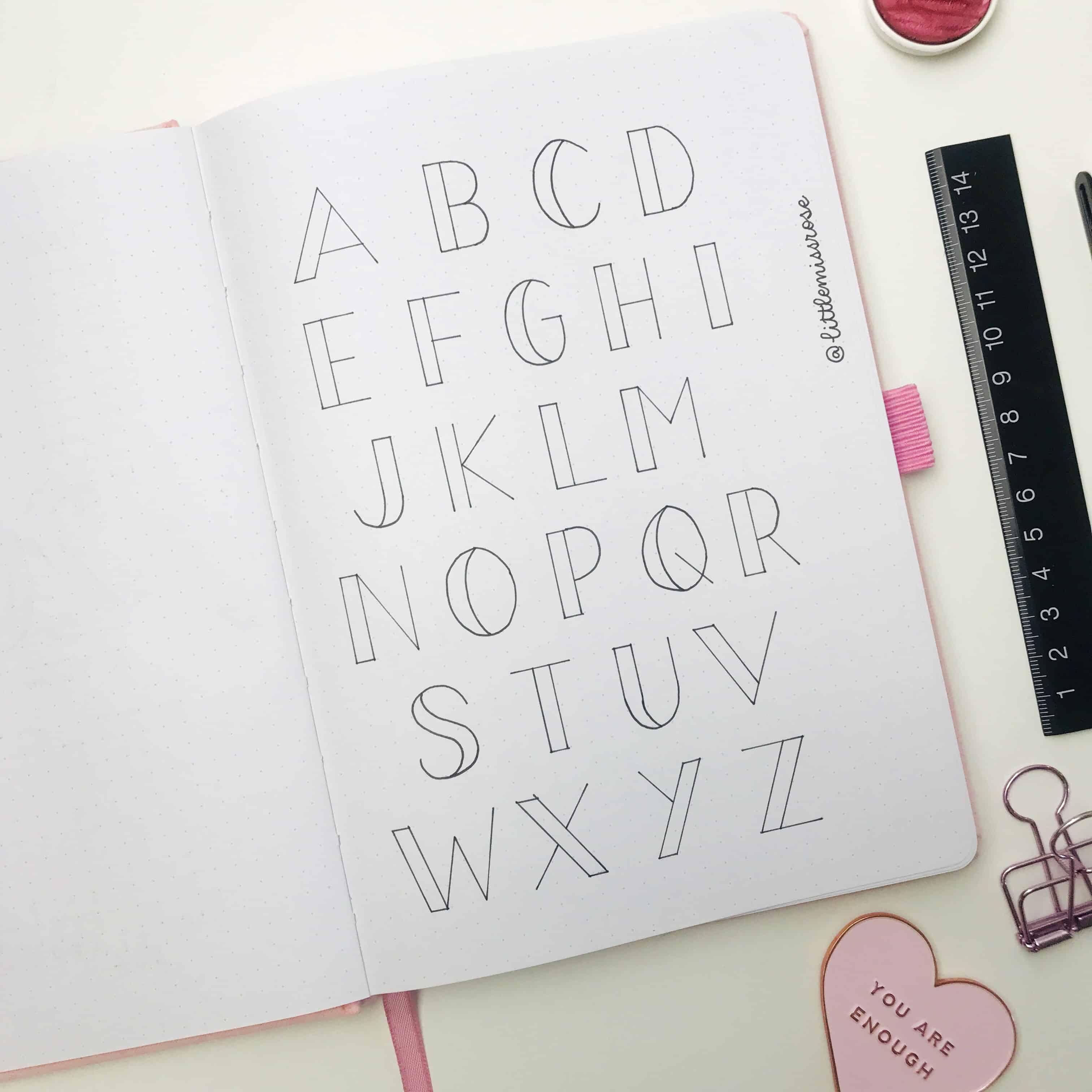 Romantic hand lettering ideas for your bullet journal - block alphabet