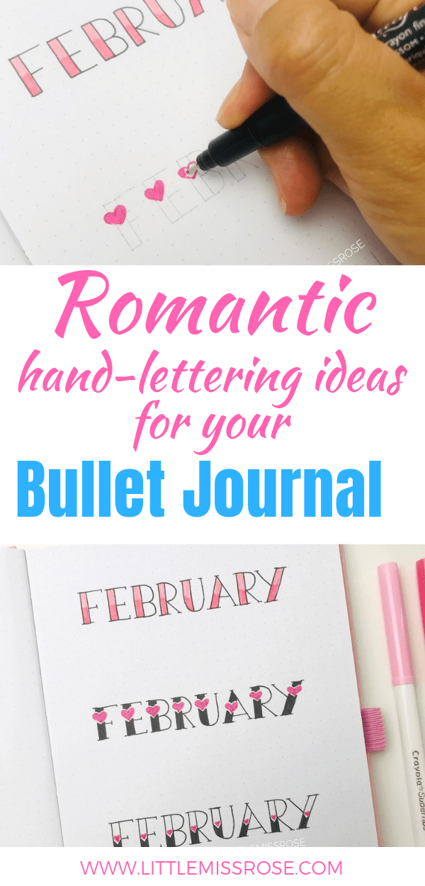 Follow along this super simple hand-lettering tutorial to create beautiful romantic headings for your bullet journal!