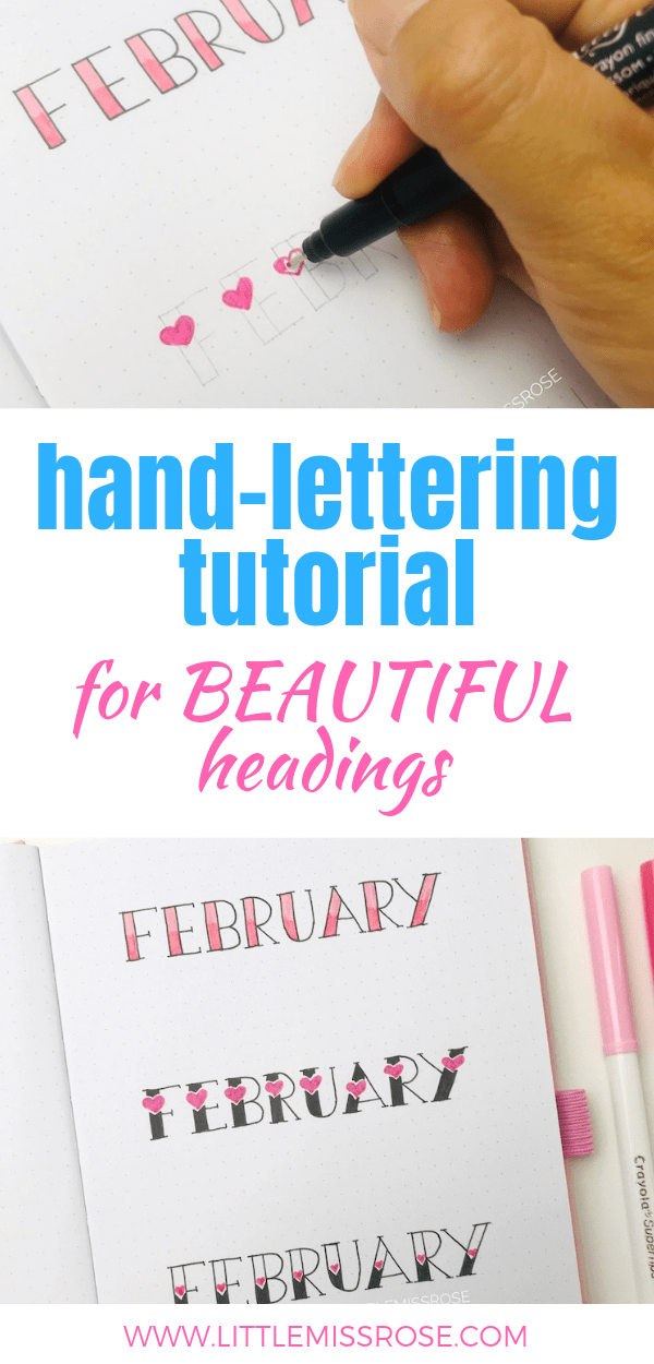 Check out this simple hand lettering tutorial to create some beautiful and romantic headings for your bullet journal or planner